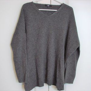 Uniqlo Gray Oversize Ribbed V-neck Sweater